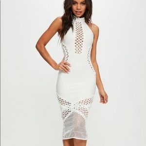 Missguided White Bandage and Lace Midi Dress